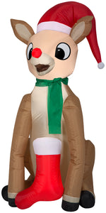 Gemmy 4.5' Airblown Inflatable Rudolph w/Scarf and Stocking