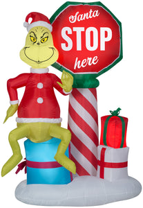Gemmy 6' Airblown Inflatable Grinch w/Santa Stop Here Sign w/LEDs Scene