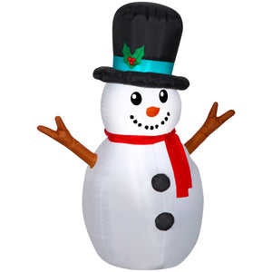 Gemmy 4' Tall Christmas Snowman with Top Hat Inflatable