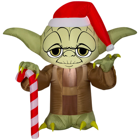 3' Airblown Yoda w/Santa Hat Star Wars Christmas Inflatable