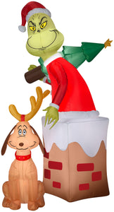 Gemmy Christmas Airblown Inflatable Grinch in Chimney w/Max Scene Dr. Seuss, 5.5 ft Tall