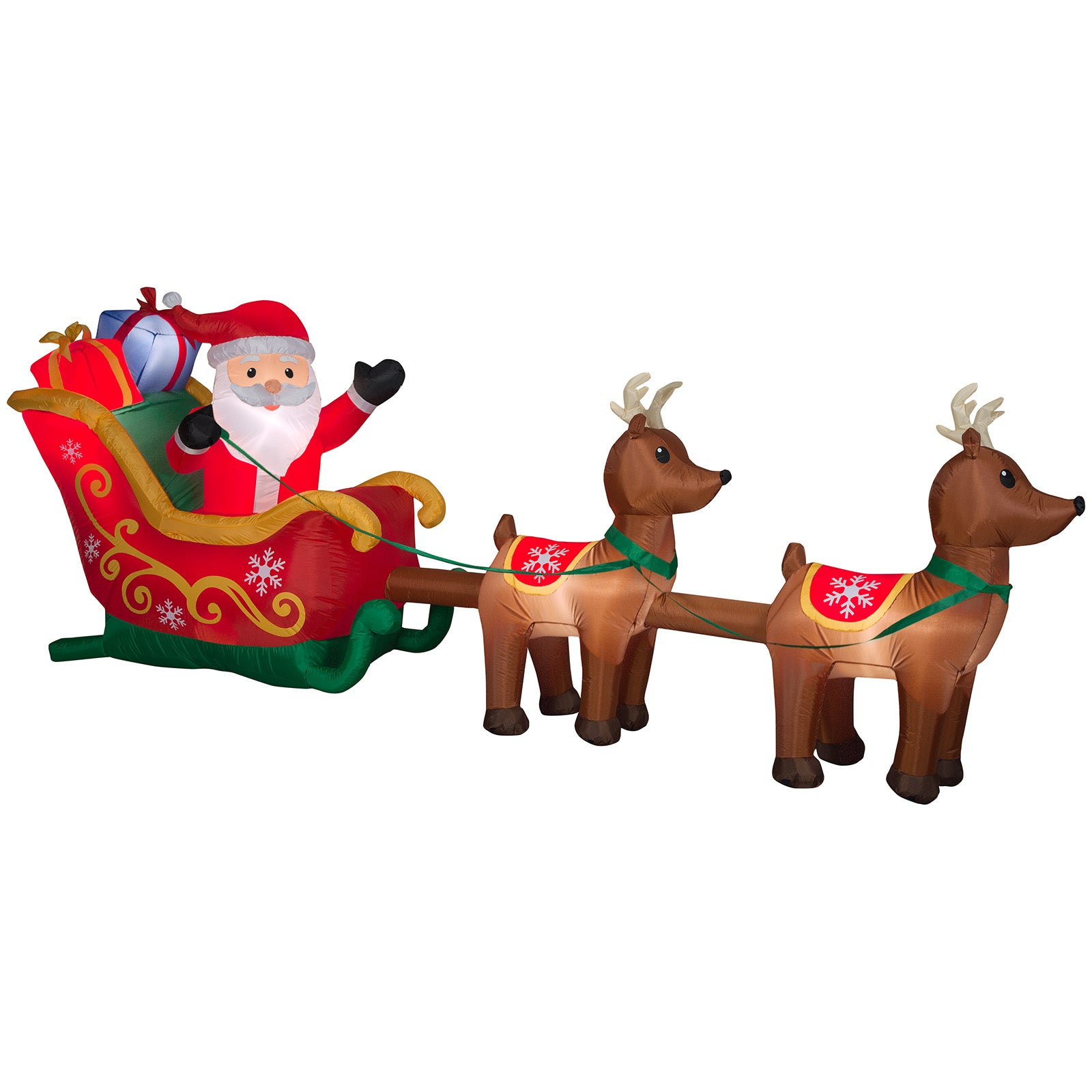 12.5' Wide Airblown Santa and Sleigh w/ Reindeer Scene Christmas Inflatable