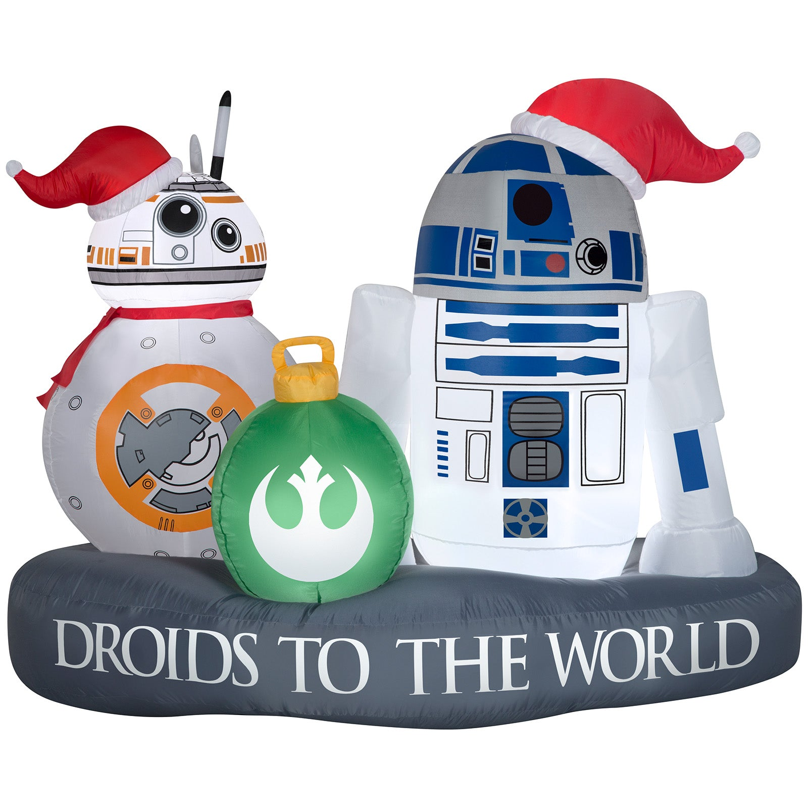 5' Wide Airblown Stylized R2-D2 and BB-8 Droid to the World Scene Star Wars Christmas Inflatable