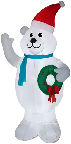 7' Airblown Polar Bear w/ Wreath Christmas Inflatable
