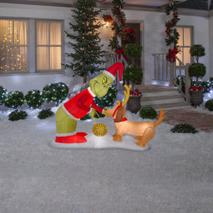 6.5' Wide Airblown Grinch and Max Christmas Inflatable