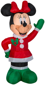 Gemmy 3.5' Airblown Inflatable Minnie in Winter Outfit w/Red Bow