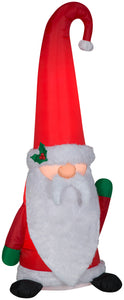Gemmy Christmas Airblown Inflatable Mixed Media Gnome w/Curved Hat, 5 ft Tall, Multicolored