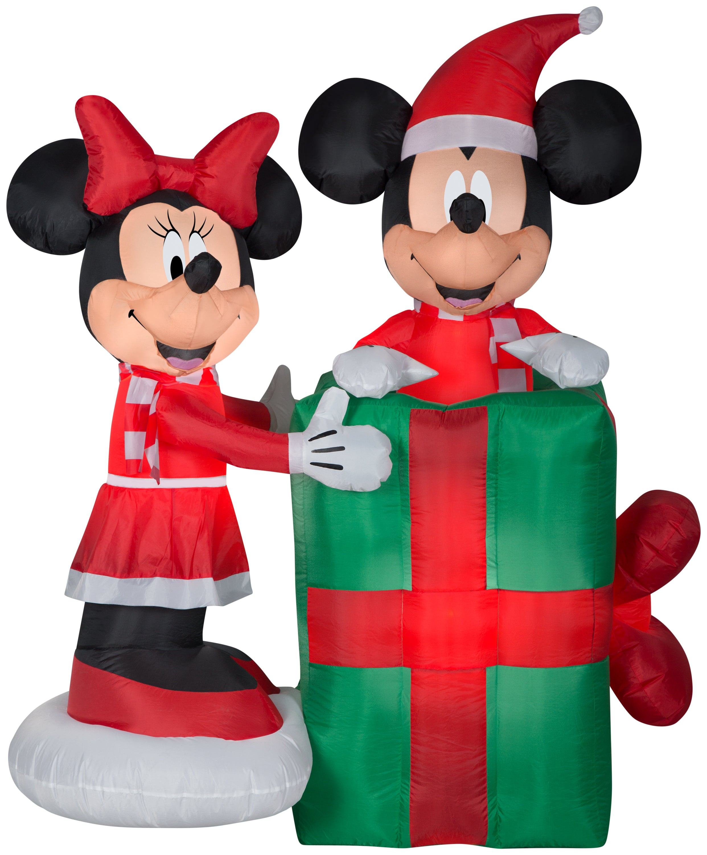 5' Animated Airblown Inflatable Minnie with Mickey Popping Out of Present Scene