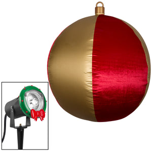Gemmy Airblown Inflatable Mixed Media Hanging Velvet Ornament Round Vertical Stripes w/External Spotlight, 4.5 ft Tall