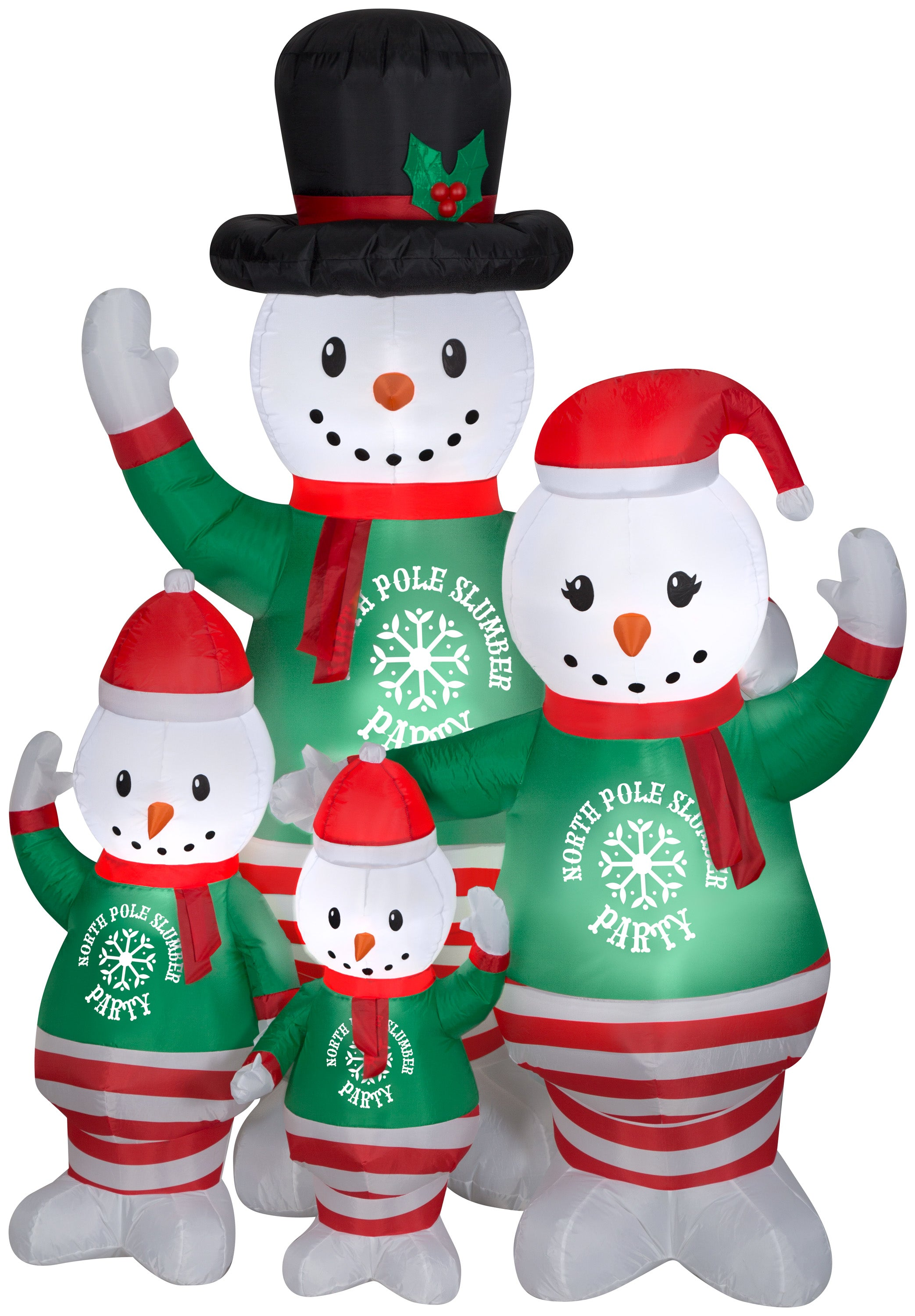 Gemmy Christmas Airblown Inflatable Pajama Snowman Family Scene, 7 ft Tall, Multicolored