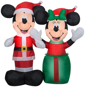 Gemmy Christmas Airblown Inflatable Santa Mickey and Minnie Scene Disney, 4 ft Tall