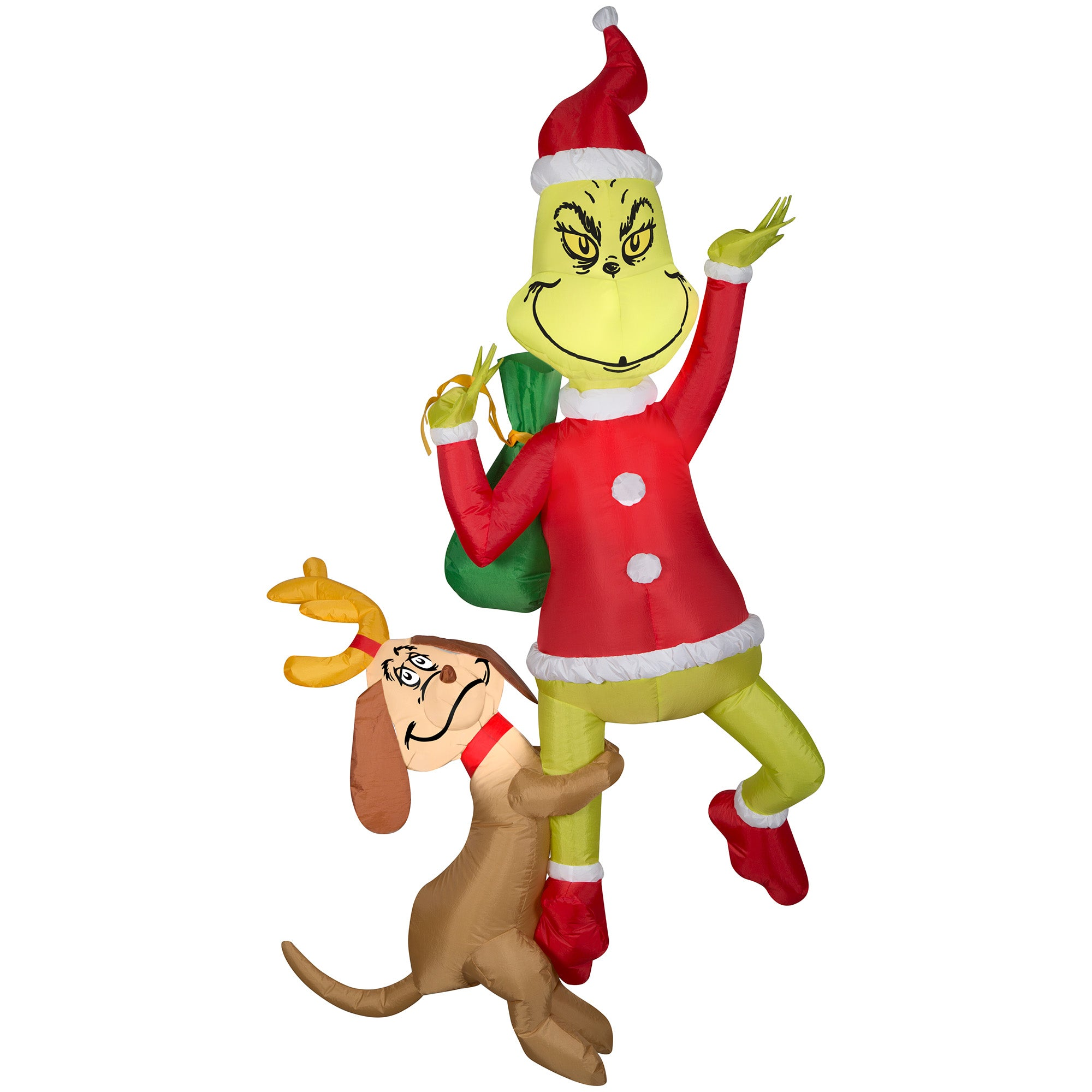 Gemmy 6ft Airblown Inflatable Hanging Grinch w/Max-Grinch