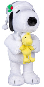 Load image into Gallery viewer, Gemmy Holiday Greeter Snoopy and Woodstock in Silver Santa Hats