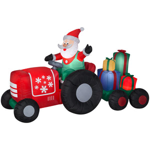 8.5' Wide Airblown Santa on Tractor w/Presents Scene Christmas Inflatable