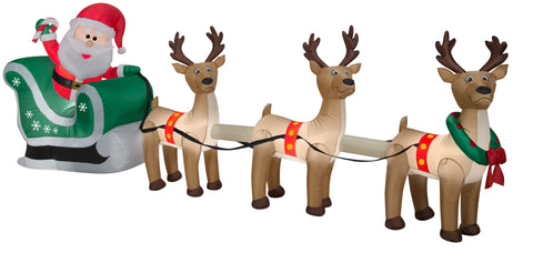 12.5' Airblown Santa Sleigh and Reindeer Scene Christmas Inflatable