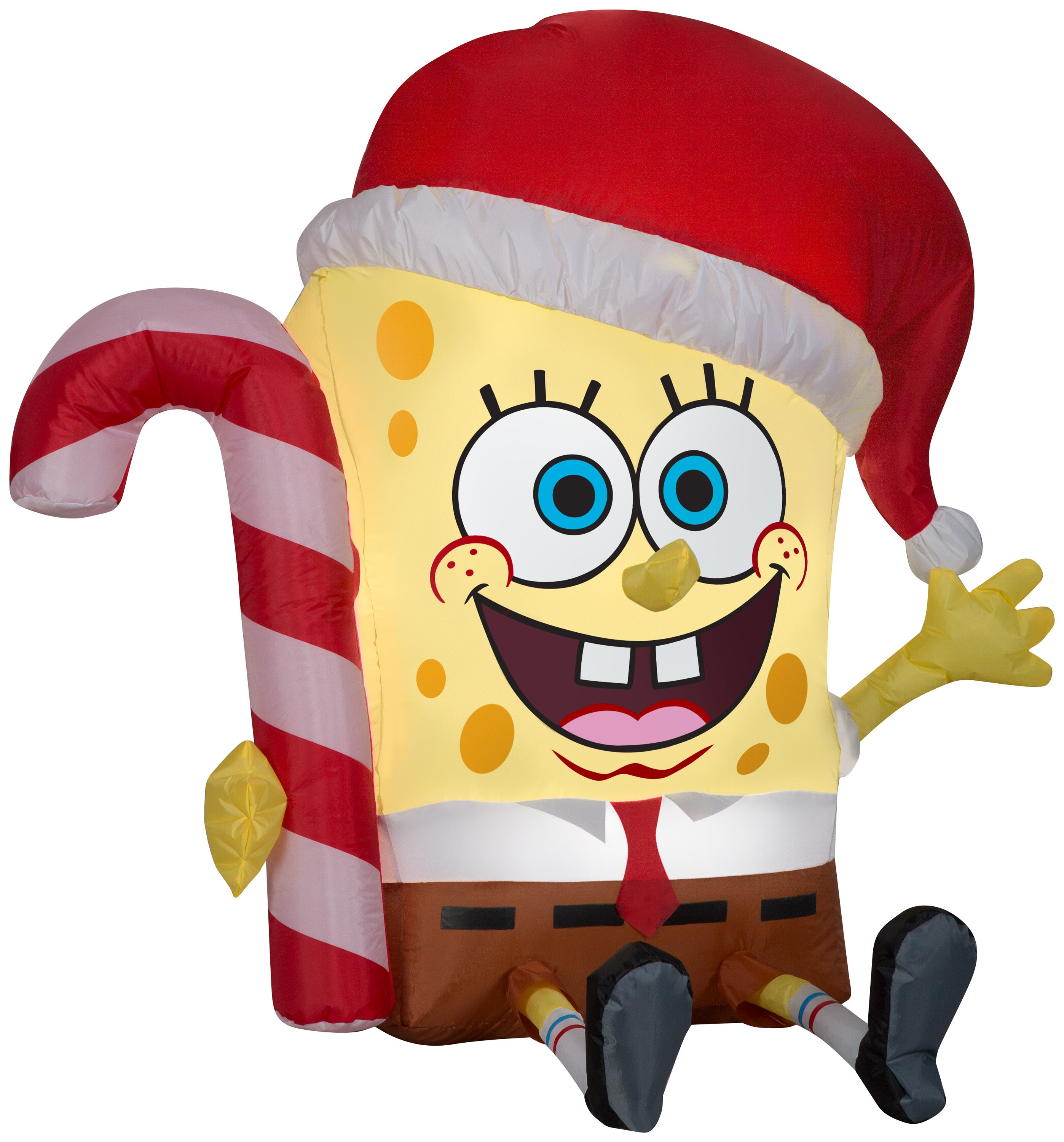 Gemmy Christmas Airblown Inflatable SpongeBob w/Candy Cane Nickelodeon, 3 ft Tall, yellow