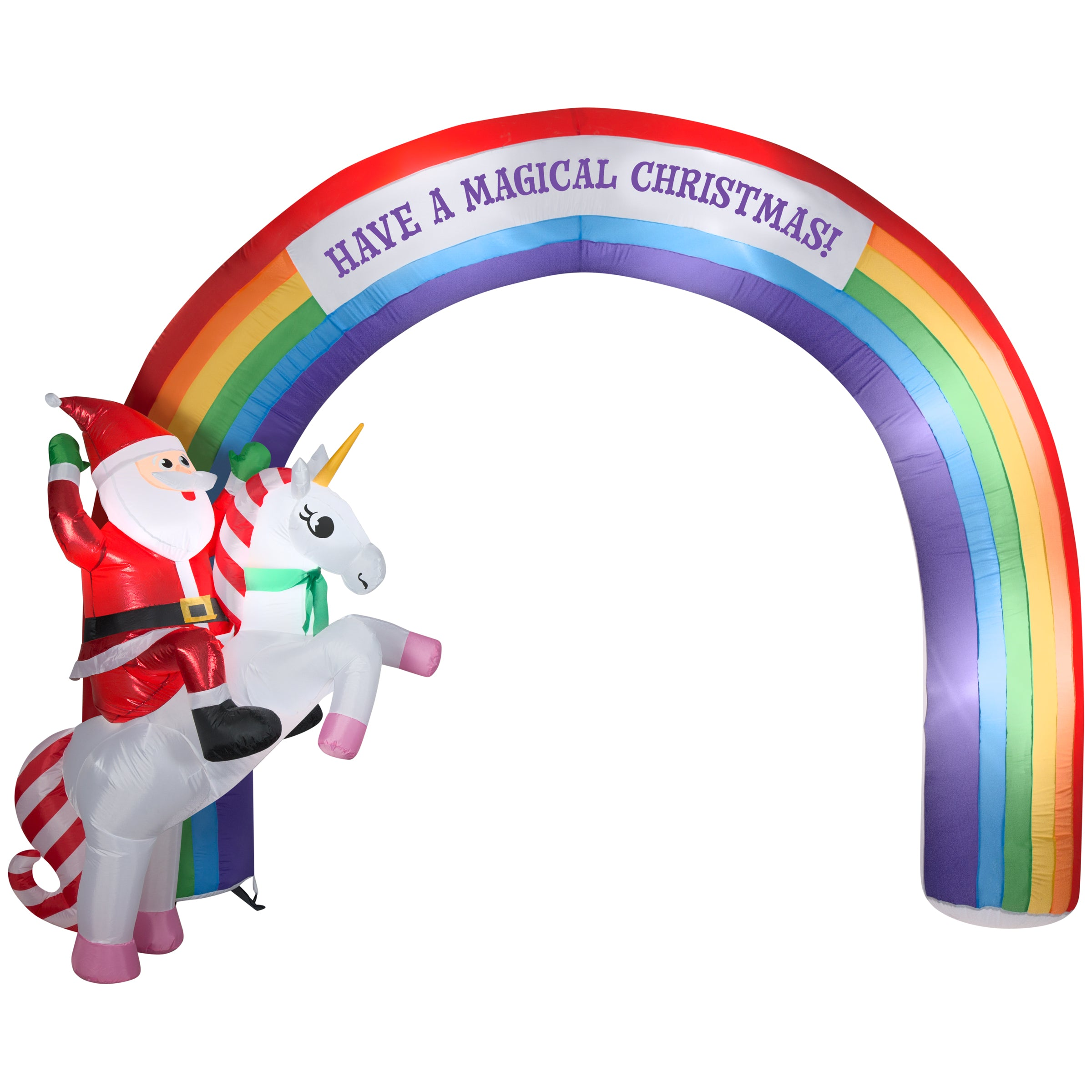 9.5' Airblown Inflatable Archway Mixed Media Unicorn Rainbow