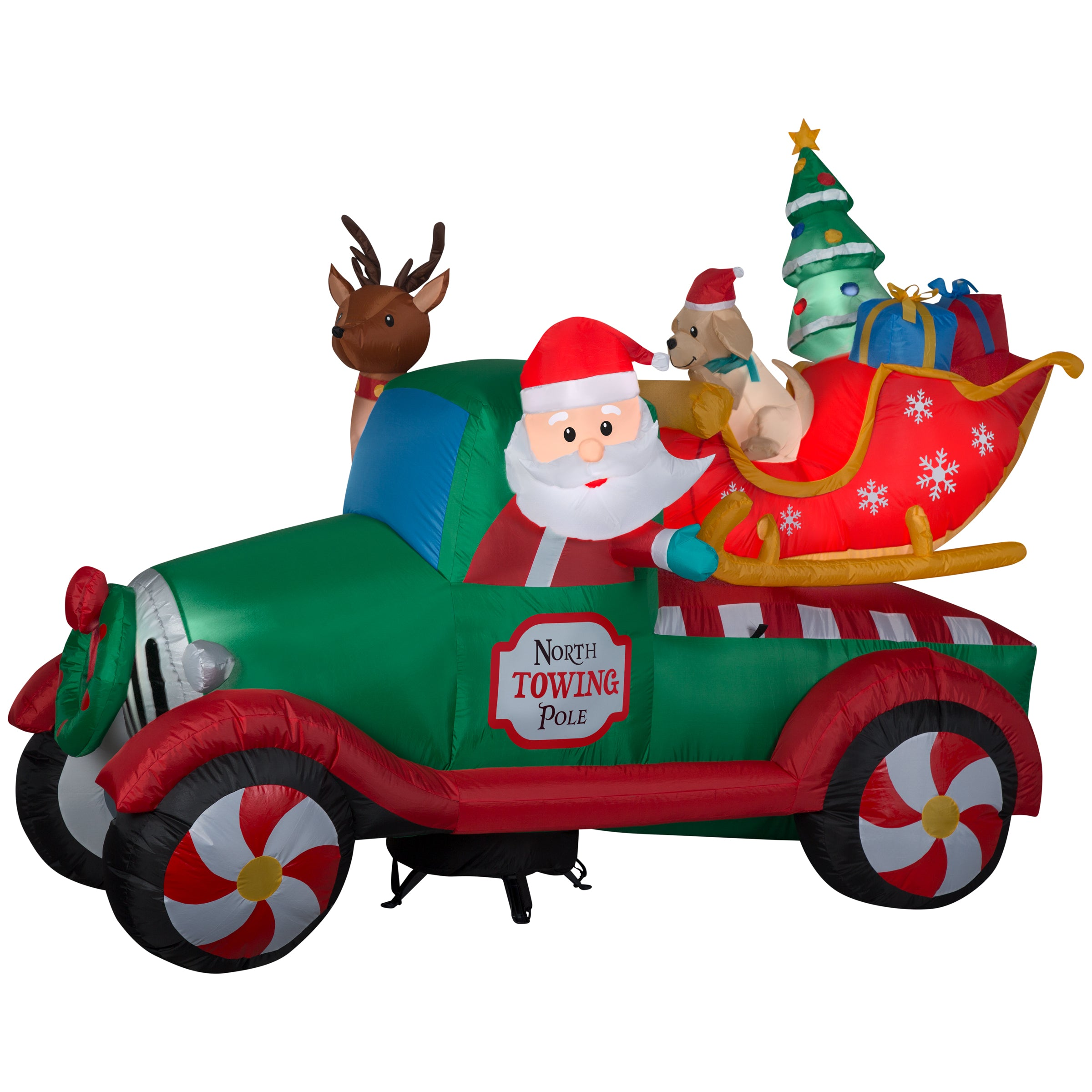 8' Airblown Inflatable Santa's Vintage Tow Truck