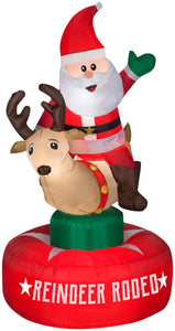 Gemmy 6.5' Animated Airblown Inflatable Santa & Reindeer Rodeo Scene