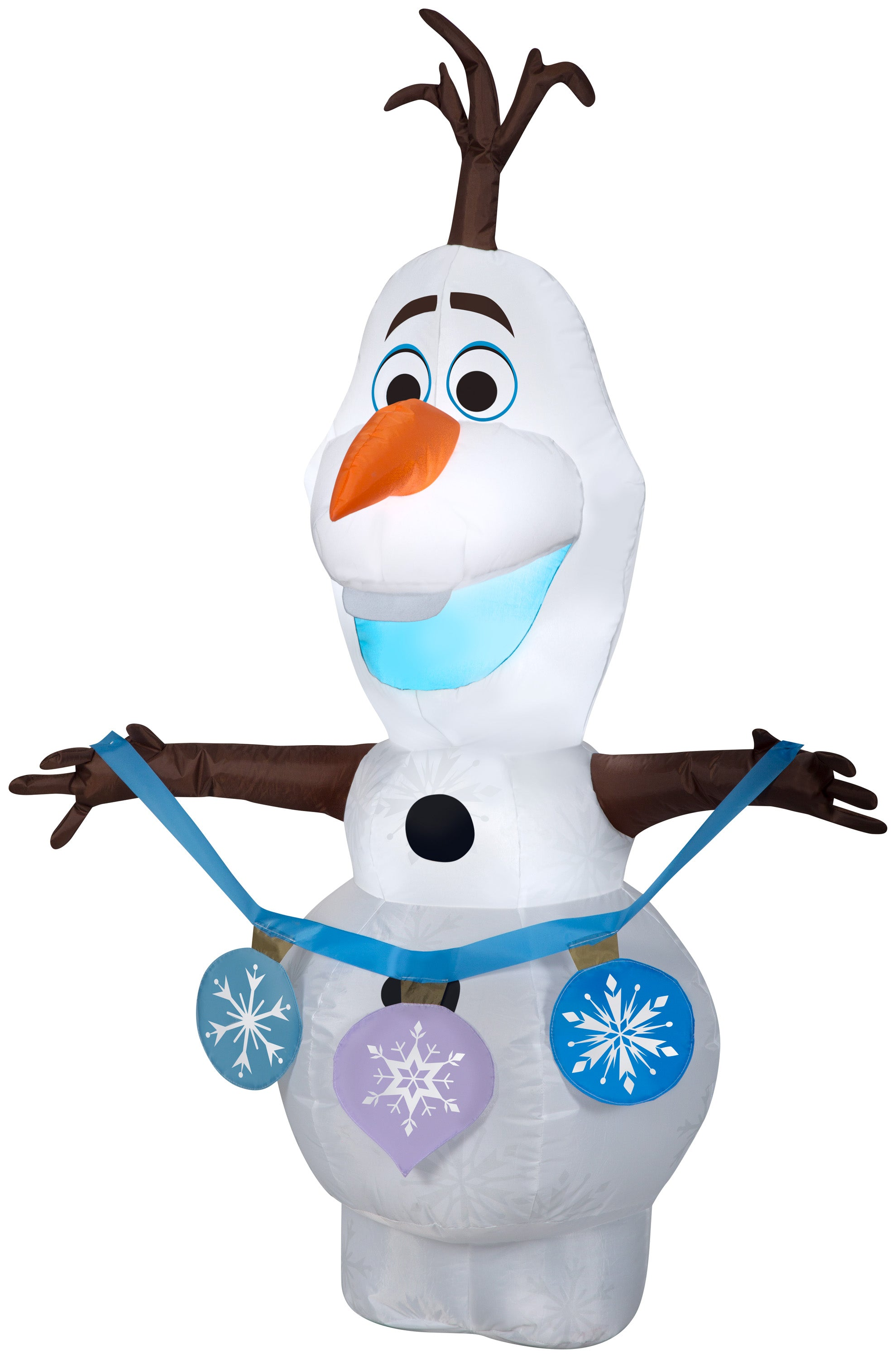 Gemmy Christmas Airblown Inflatable Frozen 2 Olaf Holding String of Ornaments Disney, 4 ft Tall