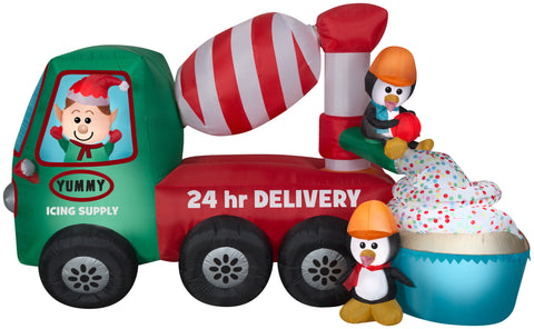 9' Long Animated Airblown Cement Mixer Scene Christmas Inflatable