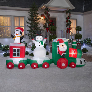 11.5' Wide Airblown Car Train Scene Christmas Inflatable