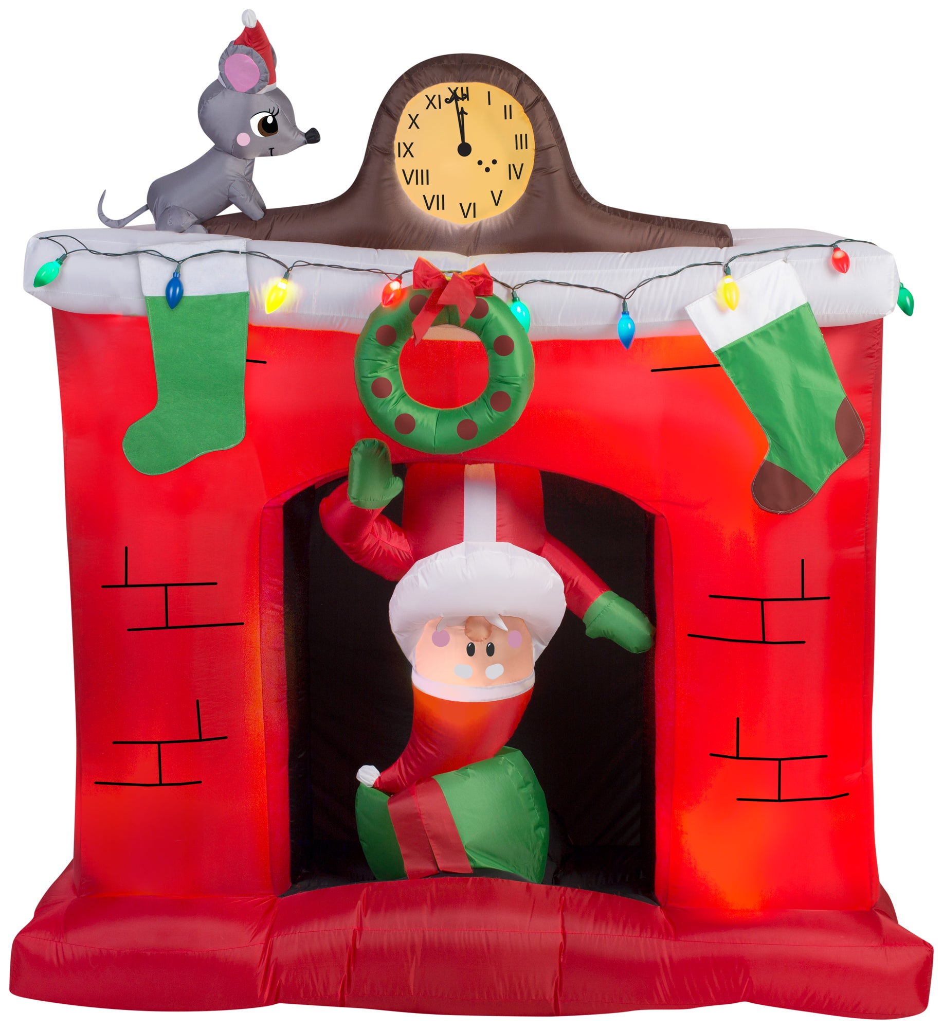 5' Animated Santa in Fireplace Scene - Christmas Inflatable