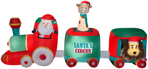 5' Airblown Mixed Media Santa in Circus Train Giant Christmas Inflatable