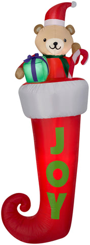 7' Airblown Stocking with Teddy Bear Christmas Inflatable
