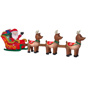 16' Wide Airblown Santa in Sleigh w/ Reindeer - Colossal Christmas Inflatable