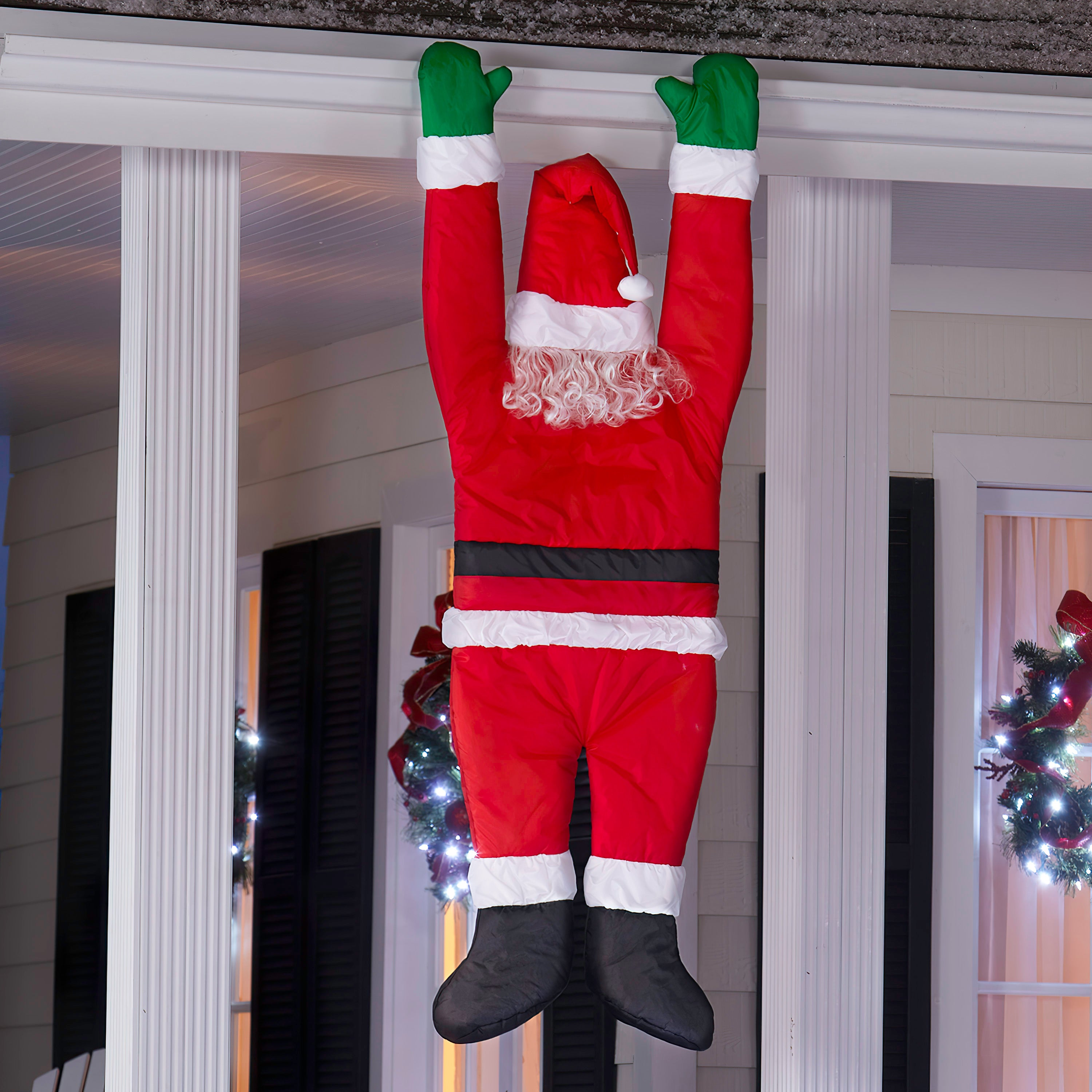 5.5' Season's Greeters-Santa Hanging From Gutter