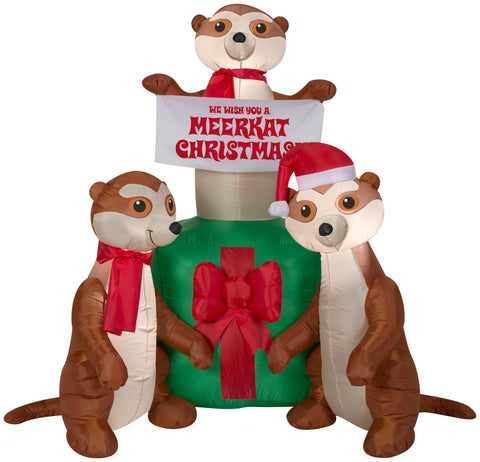 5' Airblown Meercats and Christmas Gift Scene Christmas Inflatable