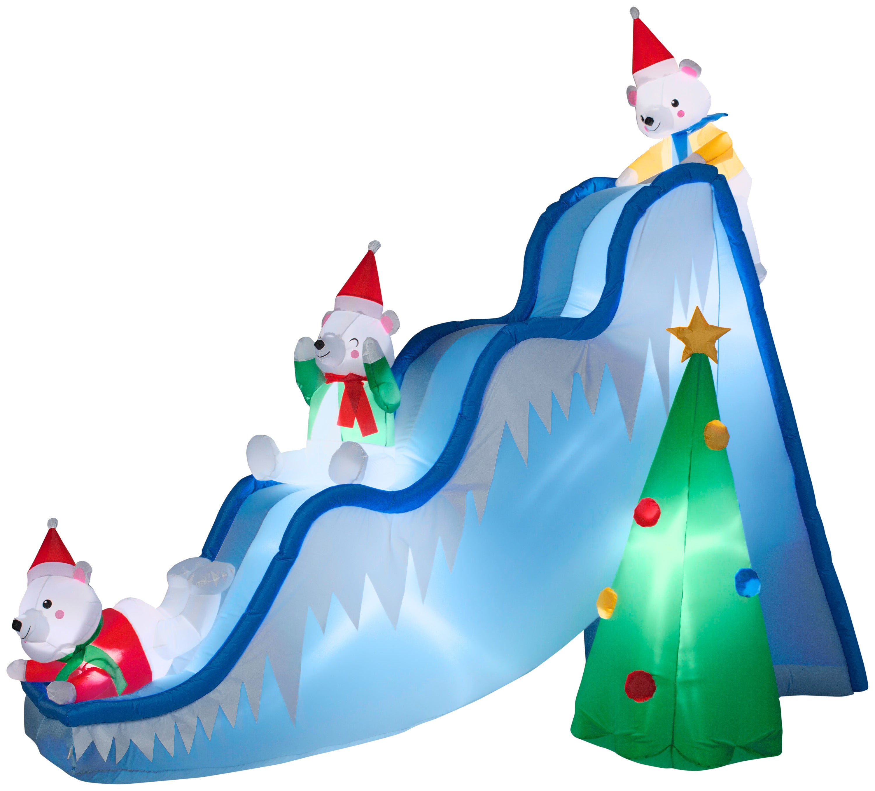 9' Airblown Polar Bears on Slide Scene Christmas Inflatable