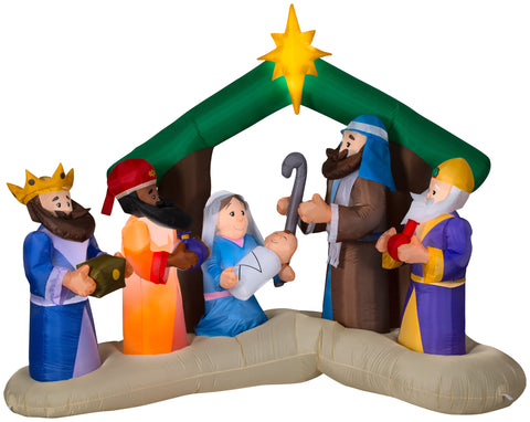 8' Wide Airblown Nativity Scene Christmas Inflatable