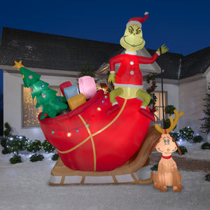 12' Airblown Grinch and Max in Sleigh Colossal Scene Grinch Christmas Inflatable