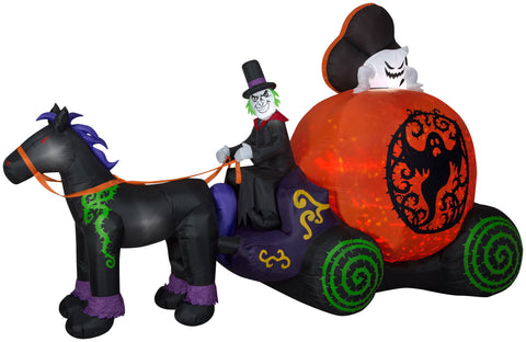 12' Wide Projection Airblown Mixed Media Kaleidoscope Ghost Coach Scene Halloween Inflatable