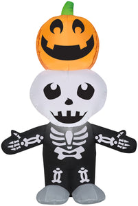 5.5' Airblown Jack-o-lantern and Skeleton Stack Scene Scene Halloween Inflatable
