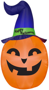 5' Airblown Pumpkin w/Witch Hat Halloween Inflatable