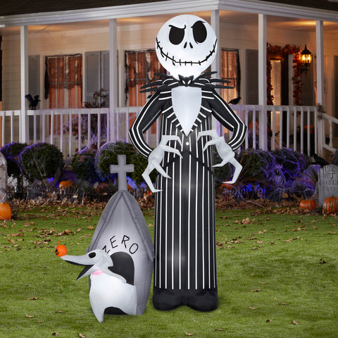 9' Airblown Jack Skellington and Zero Halloween Inflatable