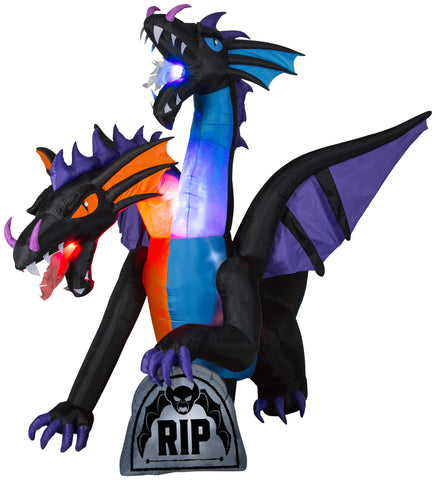 9' Projection Airblown Fire & Ice Two Headed Dragon w/ Flaming Mouth Halloween Inflatable