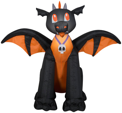 3' Airblown Winged Black/Orange Dragon Halloween Inflatable