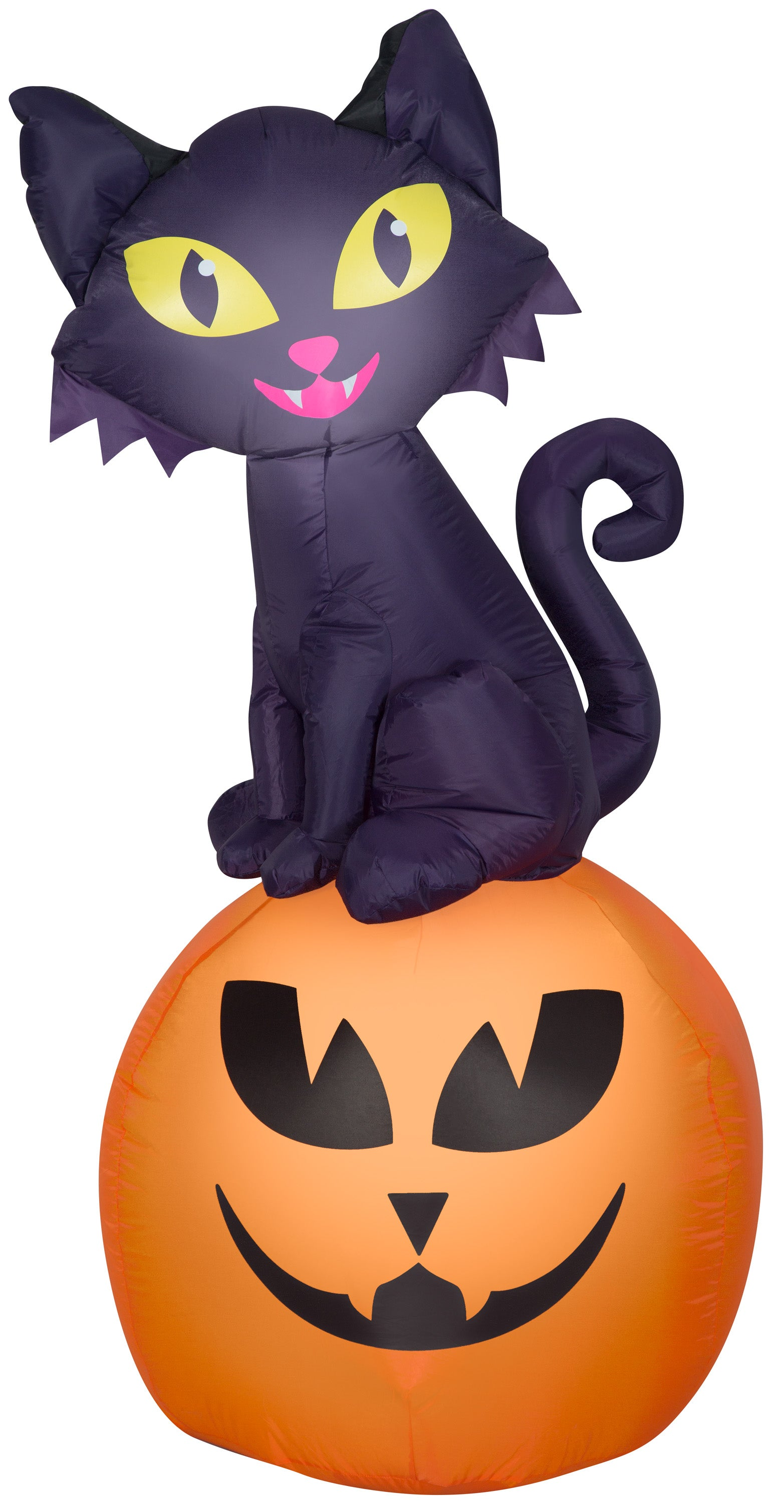 Gemmy Airblown Inflatable Halloween Cat on Pumpkin 5.5 ft