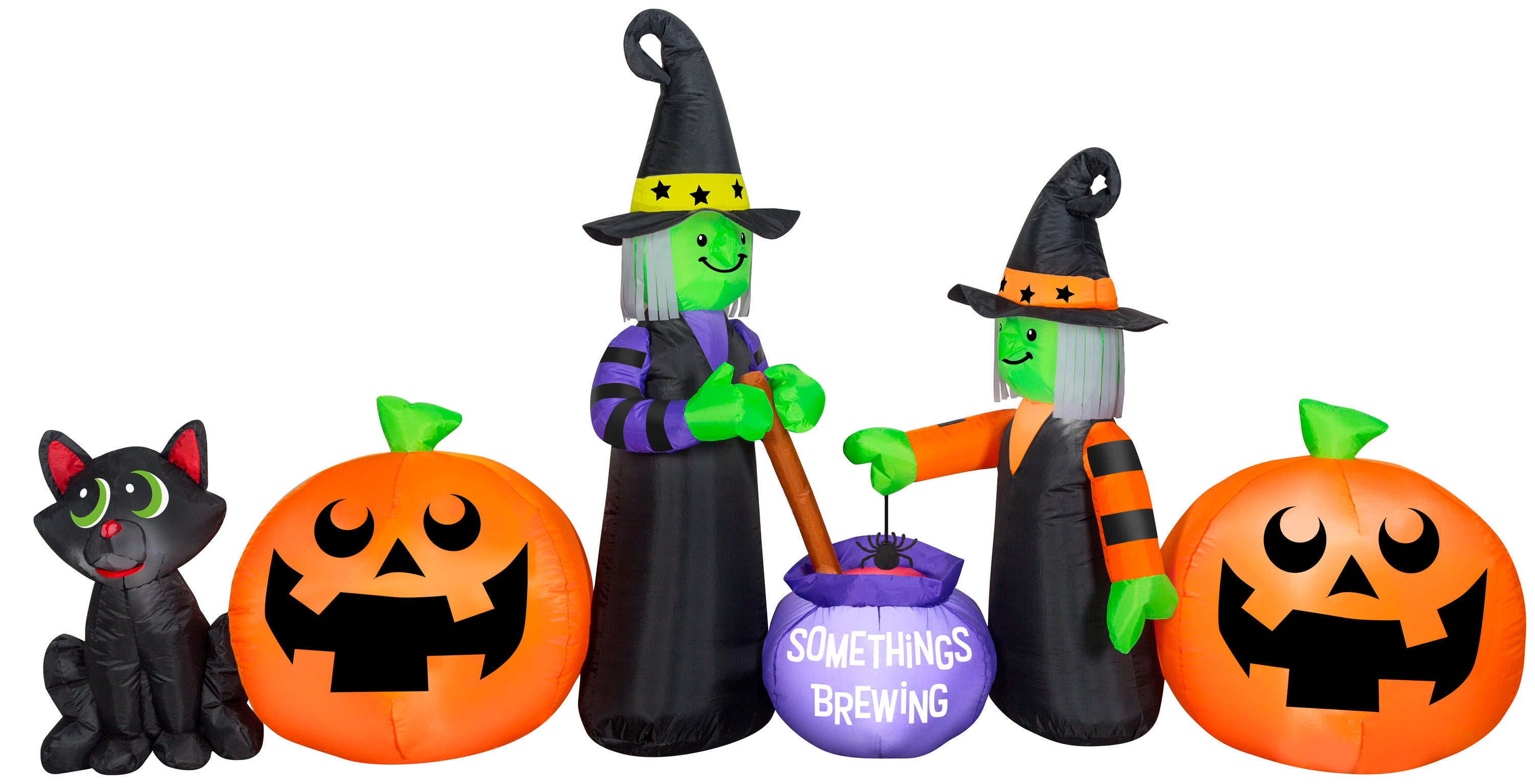 Gemmy Airblown Brewing Witch Collection Scene, 9 ft Tall, Multicolored