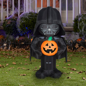 3.5' Airblown Stylized Darth Vader w/Pumpkin Star Wars Halloween Inflatable