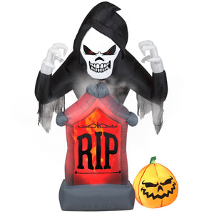 6' Animated Projection Airblown Fog Effect Fire & Ice-Shaking Reaper w/ Tombstone and Pumpkin Scene Halloween Inflatable