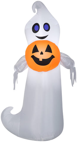 5' Airblown Playful Ghost Holding Pumpkin Halloween Inflatable