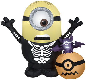 Gemmy 3.5' Airblown Inflatable Minion Skeleton w/Pumpkin Scene Universal