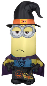 Gemmy 3.5' Airblown Inflatable Minion Kevin as Witch Universal