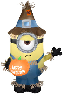 Gemmy 3' Airblown Inflatable Minion Stuart w/Thanksgiving Banner Universal