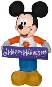 Gemmy Airblown Harvest Mickey Mouse Disney, 3.5 ft Tall, Multicolored